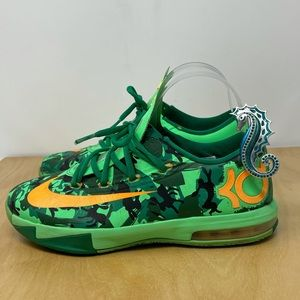 Nike KD 6 Easter Sneakers Light Lucid Green/Atomic Mango Size 5.5Y
